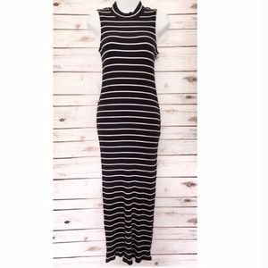 Max Jeans |Striped High Neck Sleeveless Maxi Dress